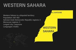 Highly detailed Western Sahara map with flag, capital and small map of the world vector