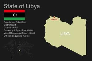 Highly detailed Libya map with flag, capital and small map of the world vector