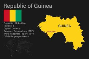 Highly detailed Guinea map with flag, capital and small map of the world vector