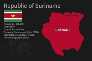 Highly detailed suriname map with flag, capital and small map of the world vector