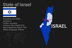 mapa de israel muy detallado con bandera, capital y pequeño mapa del mundo vector
