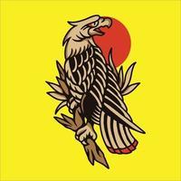 tatuaje de águila y rosa roja vector