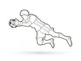 Outline Soccer Goalkeeper Jumping Action vector