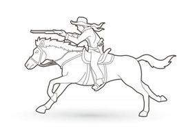 Outline Cowboy Riding Horse Aiming Gun vector