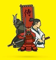 Group of  Samurai Warrior Samurai Text Vector