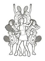 Outline Group of Tennis Female Players Action vector