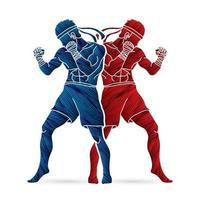 Silhouette Muay Thai Kick Boxing Action vector