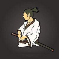 Samurai Warrior Ready to Fight Vector