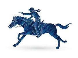 Silhouette Cowboy Riding Horse Aiming Gun vector