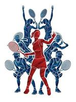 Silhouette Group of Tennis Female Players Action vector