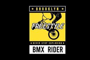 brooklyn freestyle nunca dejes de explorar el color amarillo y blanco vector