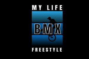 mi vida bicicleta motocross estilo libre color azul degradado vector
