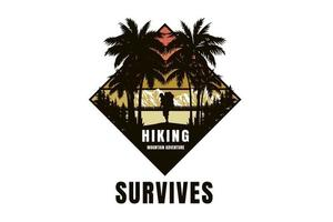 hiking mountain adventure survives color yellow and brown vector