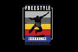 Freestyle skate brooklyn color blanco amarillo azul y rojo vector