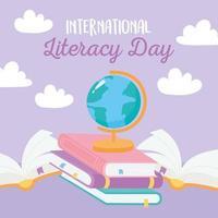 día internacional de la alfabetización, libros escolares mapa conocimiento de la literatura vector
