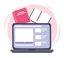 online training, laptop computer books website, courses knowledge development using internet vector
