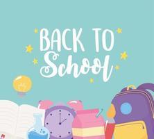 back to school, rucksack alarm clock brush book creativity poster, elementary education cartoon vector