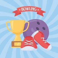 bowling ball shoes and trophy game recreational sport flat design vector
