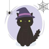 happy halloween, black cat with hat spider cobweb, trick or treat party celebration vector