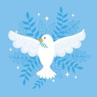 international peace day pigeon with branch leaves blue background vector