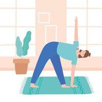 woman practicing yoga parsvakonasana pose exercises, healthy lifestyle, physical and spiritual practice vector