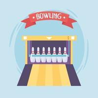 bowling game recreational sport alley pins flat design vector