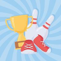 bowling pins shoes and trophy game recreational sport flat design vector