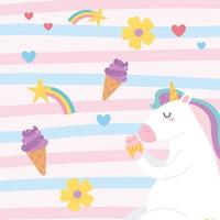 cute magical unicorn eating cupcake with ice cream rainbow flowers animal cartoon background vector
