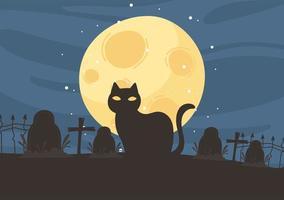 happy halloween, black cat cemetery gravestones crosses night moon trick or treat party celebration vector