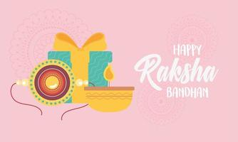 raksha bandhan, bracelet candle and gift, relation brothers and sisters indian festival vector