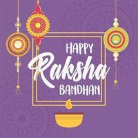raksha bandhan, candle and bracelets of love brothers and sisters indian festival vector