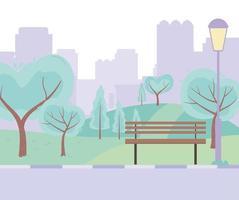city street urban park bench road trees meadow design vector
