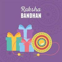 raksha bandhan, traditional bracelet and gifts celebration of love brothers and sisters indian festival vector