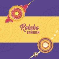 raksha bandhan, floral bracelet with gems symbol of love brothers and sisters indian celebration vector