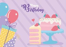 happy birthday, cake balloons gifts decoration celebration party vector