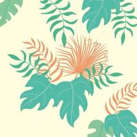 tropical leaves rainforest green palm tree and monstera vector