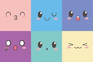 kawaii facial adorable expression emoticon cartoon character set vector