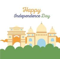 happy independence day india, architecture landmark national tourism vector