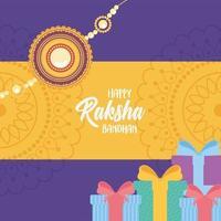 raksha bandhan, wristband gift boxes and mandala decoration of love brothers and sisters indian party vector