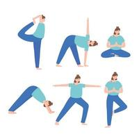 people practicing yoga different pose exercises, healthy lifestyle, physical and spiritual practice set vector