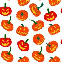 Seamless pattern of orange pumpkins on a white background. Vector illustration drawn by hands. Design of packaging, advertising, banners, textiles