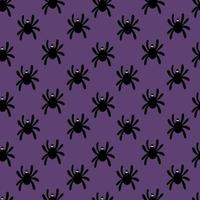 Seamless pattern of silhouette of a spider on a purple background. Cute spider pattern for textile, paper, print, blog design.Halloween pattern. Vector flat illustration