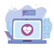 online doctor, laptop medical advice or consultation service vector