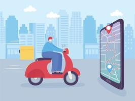 online delivery service, man in moped smartphone navigation map, fast and free transport, order shipping, app website vector