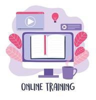 online training, computer ebook video learn coffee cup, courses knowledge development using internet vector