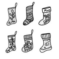 Christmas sock isolated on a white background. Christmas decor. Hand drawn vector illustration in Doodle style