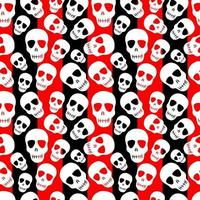 a skull pattern on a black-and-red striped background.Seamless pattern with white skulls.Design for Halloween party, printing, textiles, paper. Vector illustration