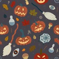 Seamless Halloween pumpkin pattern with witchcraft attributes spiders, witch broom, potions on a dark background. Design for invitations, textiles, printed products, textiles. Vector illustration