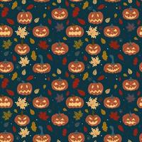 Seamless pumpkin pattern with fallen autumn leaves on a dark background. Halloween Pattern.Design for banners, Halloween invitations, printed products, postcards, textiles. Vector illustration