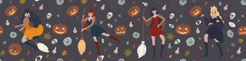 Banner with a witch flying on a broom, pumpkins, potions, spiders and witchcraft elements. Halloween vector flat illustration